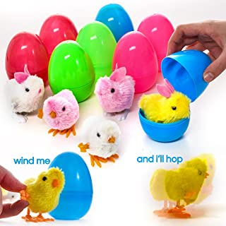 Prextex Large Toy Filled Easter Eggs Filled with Wind-Up Rabbits and Chics