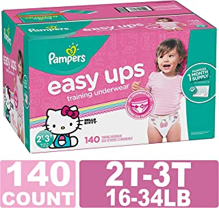 Pampers Easy Ups Training Pants Pull On Disposable Diapers for Girls, 2T-3T, 140 Count, ONE Month Supply