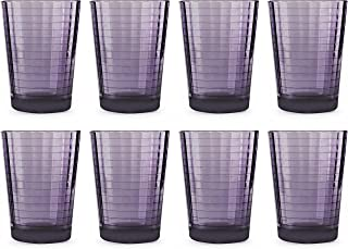 Circleware 44823 Plum Juice Drinking Glasses, Huge Set of 8, Heavy Base Tumbler Beverage Ice Tea Cups, Home & Kitchen Glassware for Water, Milk, Beer, Whiskey, Windowpane 8pc-7oz