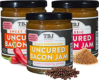 TBJ Gourmet Bacon Jam Variety Pack - Classic Bacon Jam, Sweet Chili Bacon Jam, Black Peppercorn Bacon Jam - Original Recipe Bacon Spread - Uses Real Bacon - No Preservatives - 9 Ounces (Pack of 3)