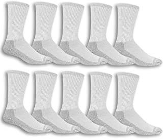 Men's 10 Pack Everyday Work Crew Socks, Grey, Shoe Size:...