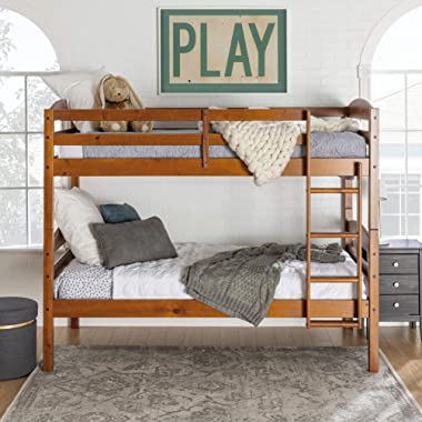 Walker Edison Della Classic Solid Wood Twin over Twin Bunk Bed, Twin over Twin, Cherry