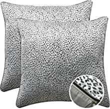 WOMHOPE Set of 2 Black and Silver Vintage Animal Decorative Throw Pillow Covers Pillow Cases Cushion Cases Throw Pillow Covers 18 x 18 Inch for Living Room,Couch and Bed (Leopard print (Set of 2 pcs))