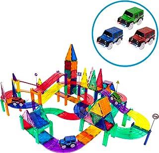PicassoTiles 128 Piece Race Car Track Building Block Educational Toy Set Magnetic Tiles Magnet Playset 3 LED Car STEM Lear...