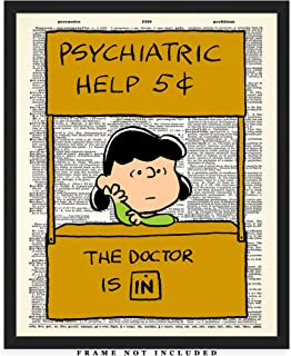 Lucy's Psychiatric Help Booth Dictionary Wall Art Print: Unique Room Decor for Boys, Men, Girls & Women - (8x10) Unframed Picture - Great Gift Idea Under $15 for Peanuts Fans