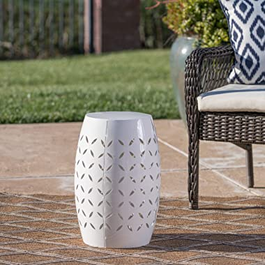 """Christopher Knight Home Lilac Outdoor 12"""" Iron Side Table, White"""
