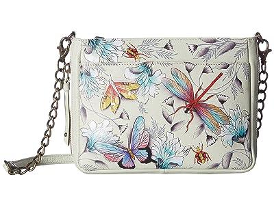 Anuschka Handbags Compact Crossbody with Front Pocket 636 (Wondrous Wings) Handbags