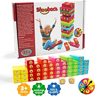 Emoji Colored Wooden Blocks Stacking Board Games for Kids Ages 3-8 with 51 Pieces