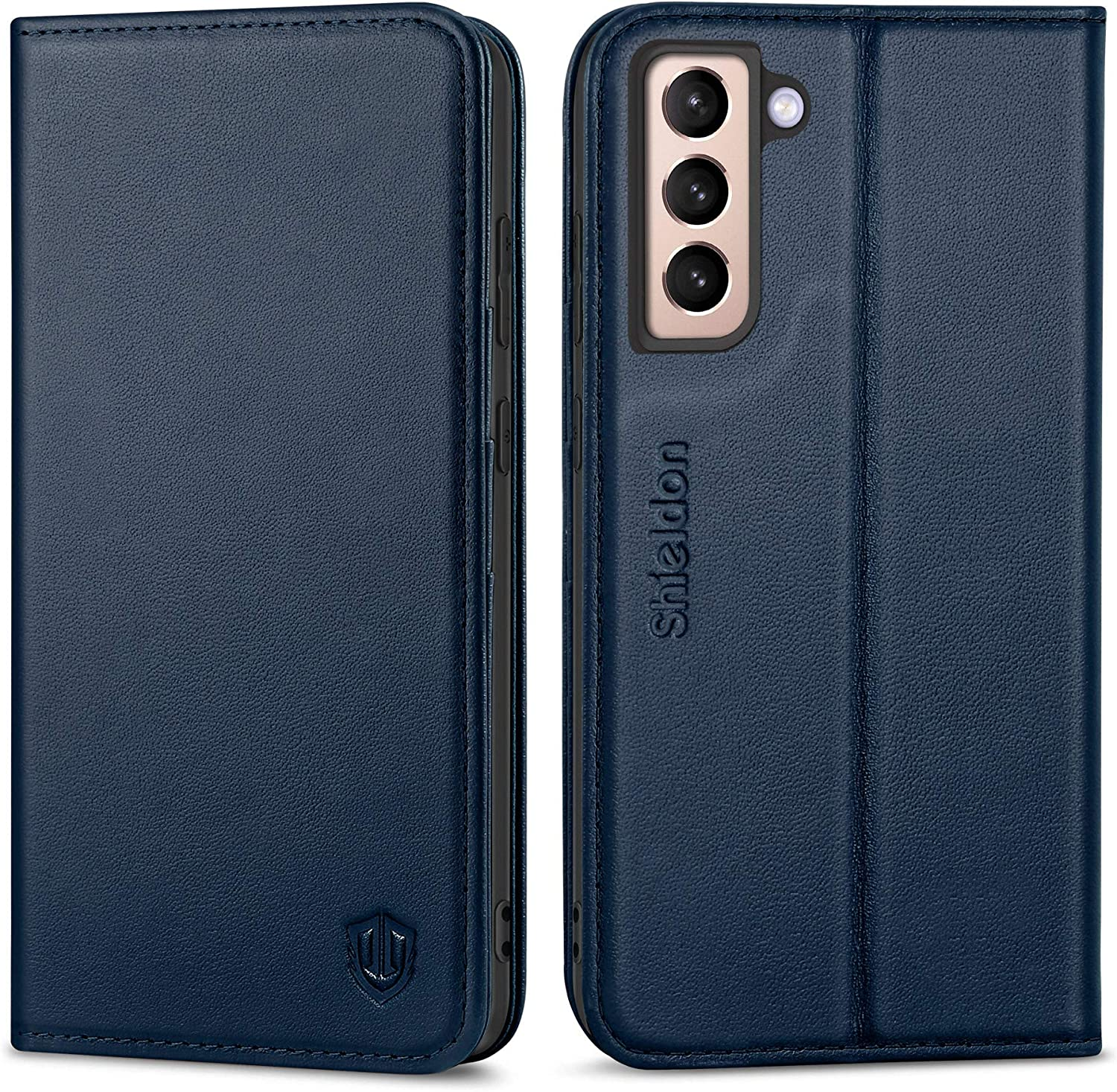 SHIELDON Galaxy S21 5G Case, Galaxy S21 Wallet Case, Genuine Leather Flip Magnetic Book Design Credit Card Slots Shock-Absorbing Protective Case Compatible with Galaxy S21 5G (6.2 inch) - Navy Blue
