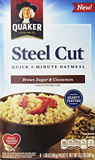 Quaker, corte de acero, harina de avena rápida de 3 minutos, caja de 8 unidades (Paquete de 3) (elegir sabor)