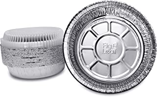 "Fig & Leaf (45 Pack) Premium 9-Inch Round Foil Pans with Plastic Dome LIDS l Heavy Duty 28 Gauge l 2"" High Walls to Prevent Spills l Disposable Aluminum Tin for Roasting, Baking, or Cooking"