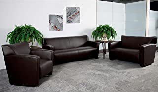 Flash Furniture Brown Leather Reception Set, 31.25-68.50 W x 30 D x 31.25 H