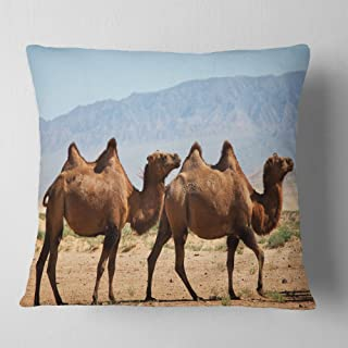 Designart Huge Camels on Tomb Ruins' African Throw Cushion Pillow Cover for Living Room, sofa 18 in. x 18 in