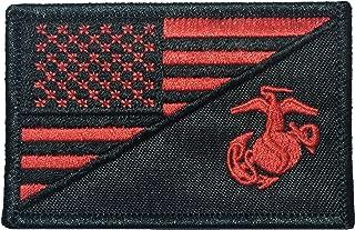 American USA Flag / Marine Corps EGA USMC Sew on Iron on Embroidered Applique Patch - Black & Red (IRON-USAF-HALF-USMC-BKRD)