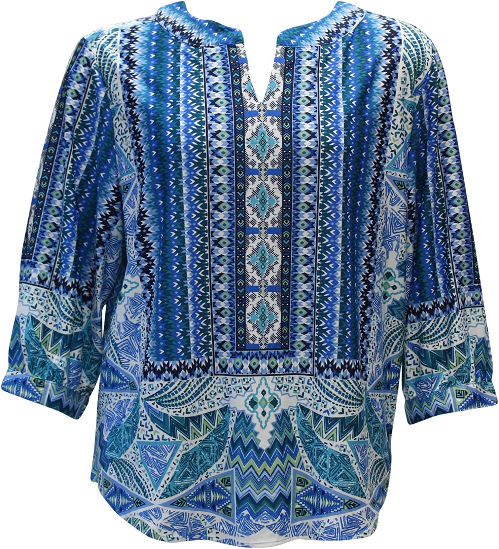 N Touch Women's Peggi Scarf Print Blouse Tunic Top