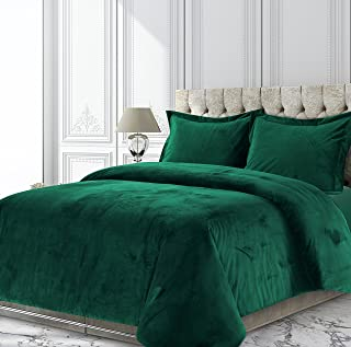 Tribeca Living VENICEDUVETTWEG Venice Velvet Oversized Solid Duvet Set, Twin, Emerald Green