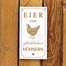 Decolando Home Accessoires Gegraveerd houten bord - EIER von glücklichen Kippen - Decoratief bord om op te hangen 10x20cm