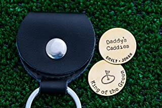 Custom Golf Ball Markers - Personalize Quote, Names - Handstamped 7/8 Inch Silver Brass or Copper Discs - Leather Case Keyring - Daddy Gift - DII QQQ