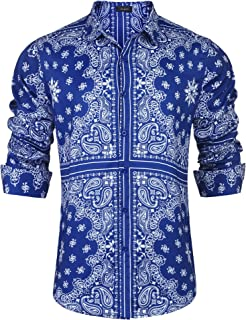 JINIDU Men's Floral Dress Shirt Slim Fit Casual Paisley Printed Shirt Long Sleeve Button Down Shirts