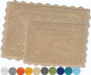 Urban Style Decor Bath Rugs Set of 2 100% Soft Reversible Crochet Border Cotton Bathmat Hand Tufted Non Slip 2200 GSM Quality (Rectangle 21 x 34/17 x 24 Set, Beige)