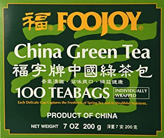 1 X Foojoy Brand China Green Tea, 2g X 100 Teabags