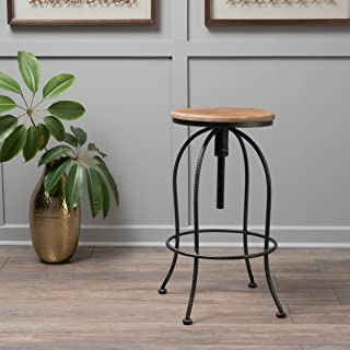 Christopher Knight Home 299594 Aleena Black and Off White Firwood and Iron Bar Stool