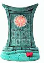 GlitZGlam Miniature Zen Fairy Door for Miniature Garden Fairies and Gnomes - Beautiful Turquoise Asian-Style Zen Fairy Miniature Door with Removable Red Fairy Shoes