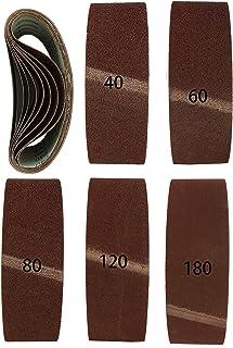 Miady Pack de 15 cintas de lija de 75 x 533 mm para lijadoras de correa grano: 3 x cada 5 de 80//120//150//240//400