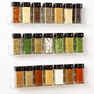 The 'Invisible' Acrylic Spice Rack Organizer:WITH SHELF ENDS (3 Pack) Wall Mount, Strong, Sturdy & Space-Saving