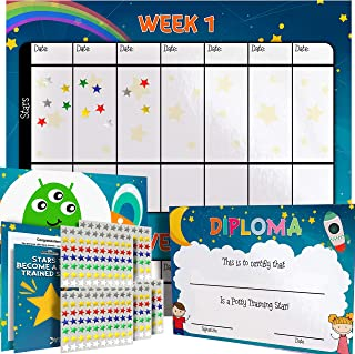 Potty Training Chart for Toddlers - Space Theme - Sticker Chart - Celebratory Diploma, Crown and Book - 4 Week Potty Chart for Girls and Boys - Potty Training Sticker Chart