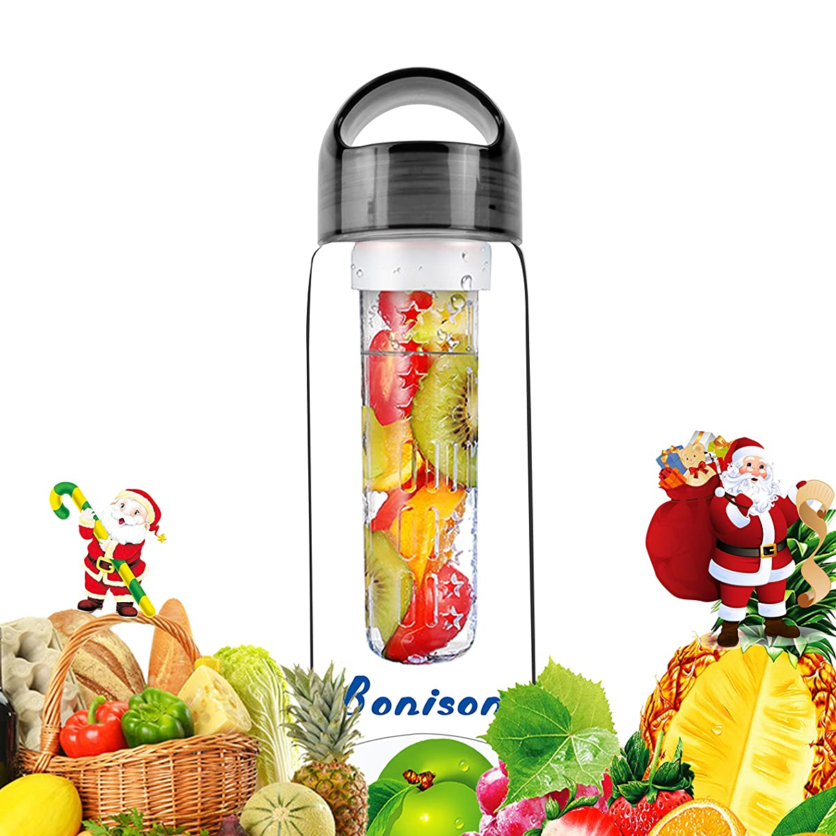 Black 23 oz Sporty Tritan Fruit Infuser Water Bottle, Sports Bottle, School Bottle, Leak Proof, with Handle, for Fruit, Juice, Iced Tea, Lemonade & Sparkling Beverages - with 2 Gifts