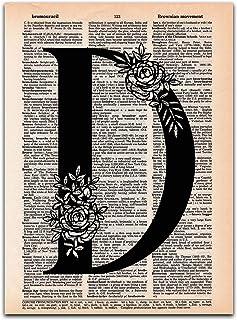 D - Monogram Wall Decor, Letter Wall Art, Dictionary Page Art Print, 8x11 UNFRAMED