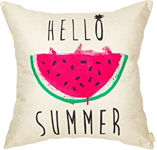 Fahrendom Hello Summer Watercolor Watermelon Seasonal Quote Decoration Farmhouse Décor Cotton Linen Home Decorative Throw Pillow Case Cushion Cover with Words for Sofa Couch 18 x 18 Inch