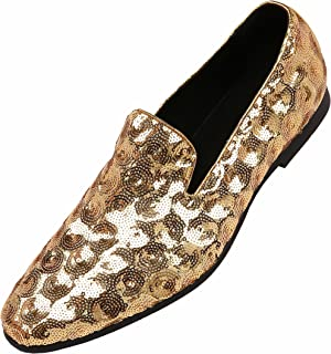 a7fe9597908d Amali Mens Sequin Circle and Diamond Patterned Comfortable Smoking Slipper  Dress Shoes, Nightclub Slip On