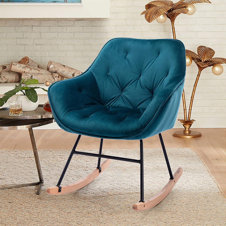 SSLine Velvet Upholstered Rocking Chair Modern Nursery Accent Max 67% OFF Ch Max 44% OFF