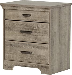 South Shore Versa Nightstand with 2 Drawers and Charging Station, Weathered Oak