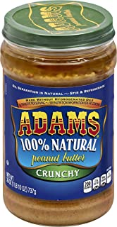 Adams 100% Natural Crunchy Peanut Butter Spread, 26 Ounce (Pack of 6)
