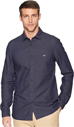 "Long Sleeve Slim Fit ""Blue Pack"" Jacquard Dot Button Down"