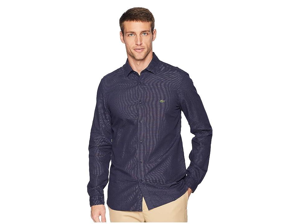 Lacoste Long Sleeve Slim Fit Blue Pack Jacquard Dot Button Down (Navy Blue) Men