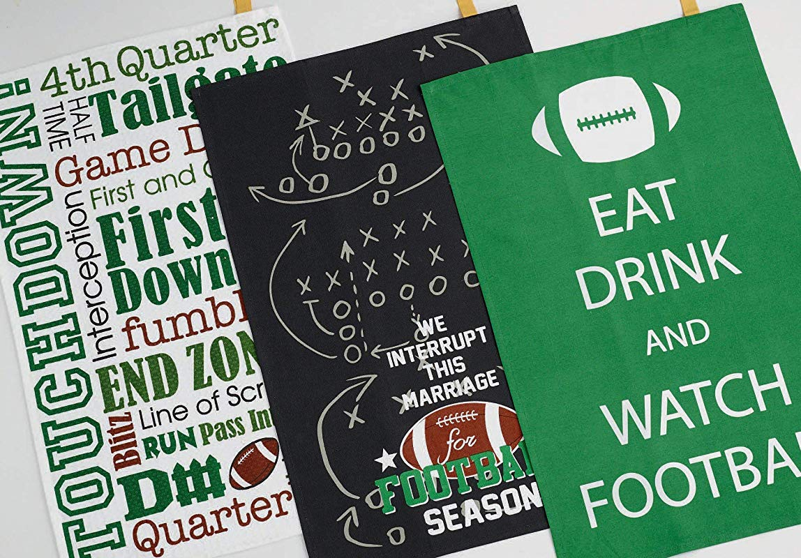 Design Imports DII Everything Football Set 3 Dish Towels Eat Drink Watch Words Interrupt This Marriage For Football Season