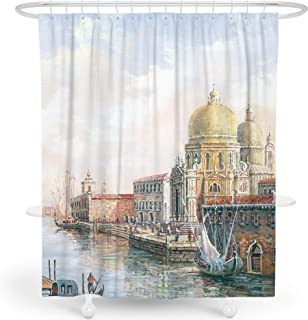 LIVETTY Shower Curtain, Vintage Italian Venice Church Building and River Oil Painting Landscape Fishman for Bathroom Water-Proof (Vintage Venice, 72x72 Inch)