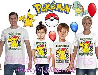 Girl Pikachu Pokemon Birthday Shirt, Add Any Name and Age, Pokemon Birthday Shirt, Family Birthday Shirt, Pikachu Shirt, Pokemon Shirts, Visit Our Shop
