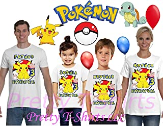 Girl Pikachu Pokemon Birthday Shirt, Add Any Name and Age, Pokemon Birthday Shirt, Family Birthday Shirt, Pikachu Shirt, Pokemon Shirts, Visit Our Shop