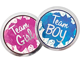 Gender Reveal Stickers - Team Boy and Team Girl - Pink & Blue Sticker Set | Baby Shower Party Supplies | Decorations Ideas | Vote Stickers (25 Pink + 25 Blue)