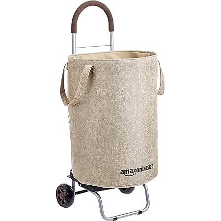 Amazon Basics Panier à linge roulant convertible en chariot, Hauteur 91 centimètres poignée incluse, Beige