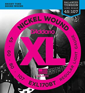 DAddario EXL170BT Nickel Wound Bass Guitar Strings, Balanced Tension Light, 45-