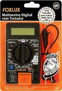 Multímetro Digital com Testador Foxlux – Com Ponta de Prova – ACV + DCV – Testes de Diodo e Transistor HFE – Teste de cont...