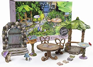 Spritely Gardens Deluxe Fairy Garden Kit with Accessories Indoor/Outdoor 14-Piece Toy Fairy Garden Miniatures – Fairy Garden Decorations Set Makes a Great Gift for Girls