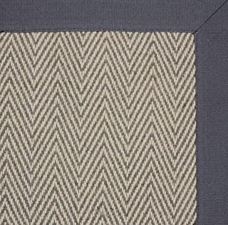 Natural Vegetable Fibre Herringbone Flat Weave Texture Natural and Grey Rug in Recyclable Carpet (2'x7'7'' Runner, Grey/Grey)