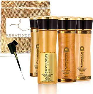 Keratin Cure Best Hair Treatment Gold & Honey V2 Lgel 5oz 6 pc Kit STRONG Intensive Extracts Professional Complex with Nourishing Straightening Damaged Dry Frizzy Coarse Curly African Ethnic Wavy Hair